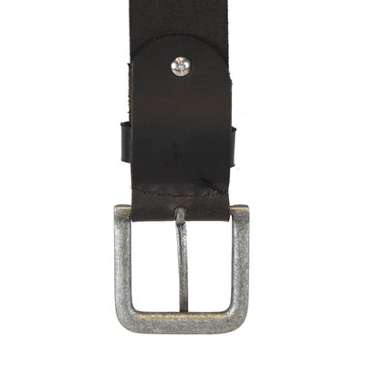 Leather Ladies Belt Made of Black Leather - 4 cm wide