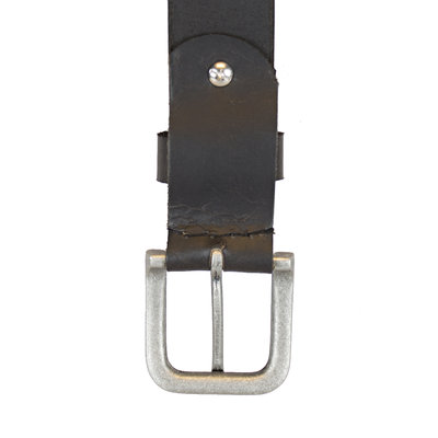 Leather Ladies Belt Made of Black Leather - 3.5 cm wide