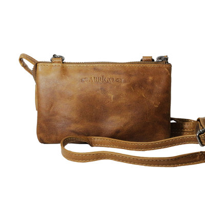 Leather wallet bag, naturel - large