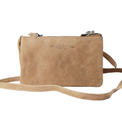 Cowhide leather wallet bag in the color taupe - XL