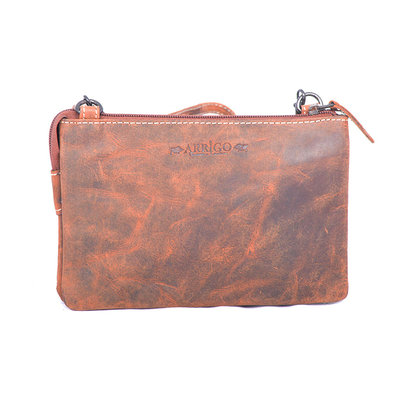 Purse bag of cool buffalo leather in the color cognac - XL