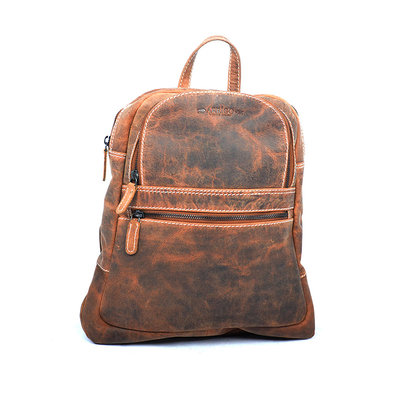 Backpack Of Cognac Colored Leather With 4 Compartments