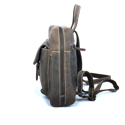 Compact backpack made of trendy dark brown buffalo leather
