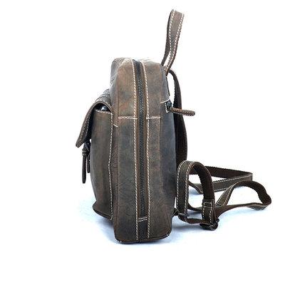 Compacte rugtas van trendy donkerbruin buffelleer