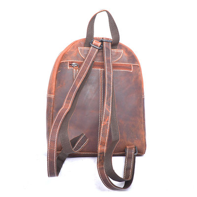 Backpack Buffalo Leather - Compact Model In The Color Cognac