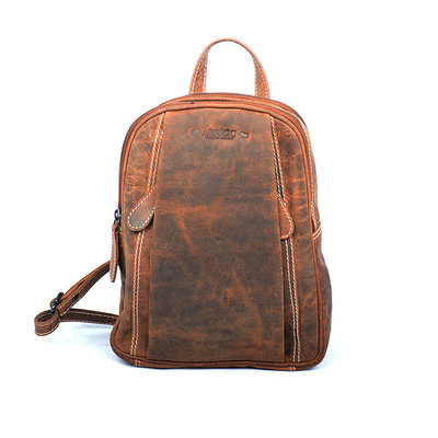 Small cognac buffalo leather backpack with 5 zippers