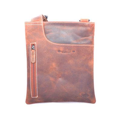 Buffelleren schoudertas met steekvak in de kleur cognac