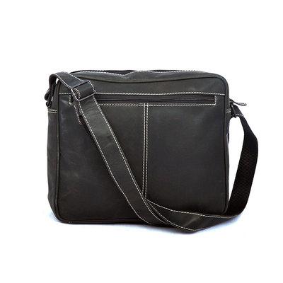 Compacte schoudertas van trendy zwart buffelleer
