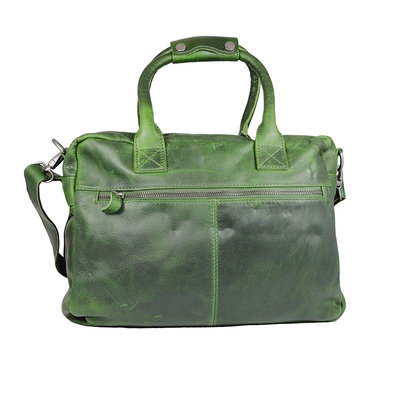 Western bag in supple green cowhide leather, large model