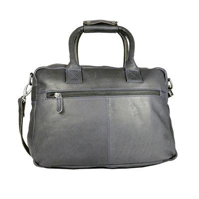 Western tas van donkerblauw soepel rundleer, groot model