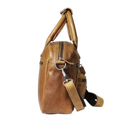 Rundleren westernbag in de kleur cognac, medium size