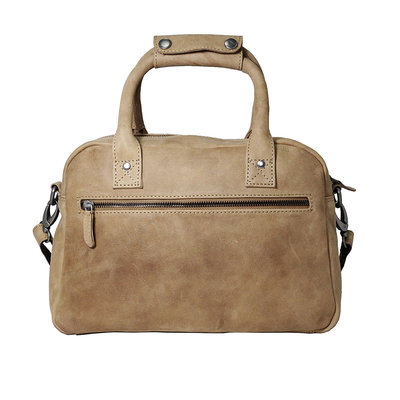 Cowhide leather westernbag in the color taupe, medium size
