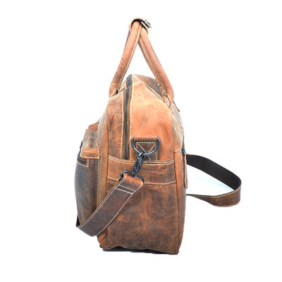 Buffelleren westernbag in de kleur cognac, large