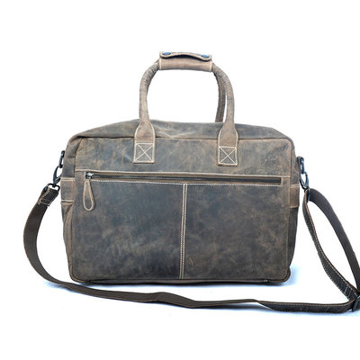 Leather Western Bag In The Color Dark Brown, Large Model