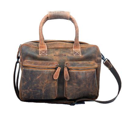 Buffelleren westernbag in de kleur cognac, XL