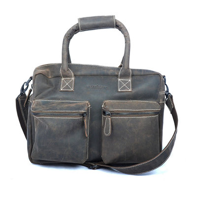 Buffelleren westernbag in de kleur donkerbruin, XL