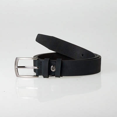 Black Leather Belt Of 3 cm Wide With A Silver Buckle