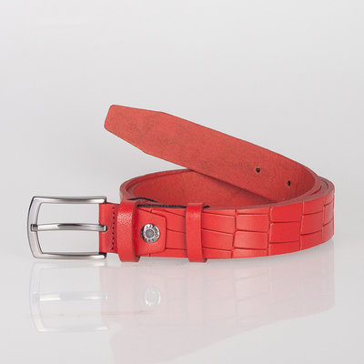 Belt For Ladies Or Gentlemen Of Red Leather With Croco Print