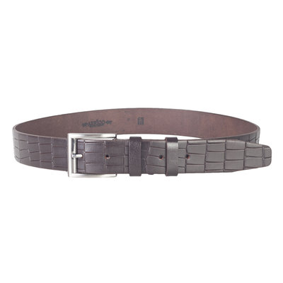 Croco print clothing belt of 4 cm wide made of dark brown leather