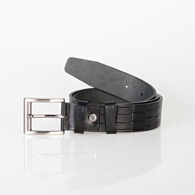Croco print clothing belt of 4 cm wide made of black buffalo leather