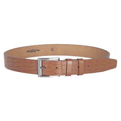 Croco print clothing belt of 4 cm wide made of cognac / natural leather