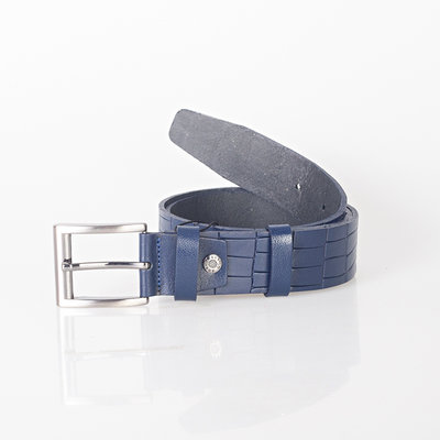 Croco print clothing belt of 4 cm wide made of dark blue leather