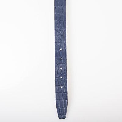 Leren riem 4 cm donkerblauw croco