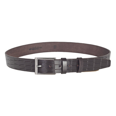 Dark brown leather belt of 3.5 cm wide with croco print
