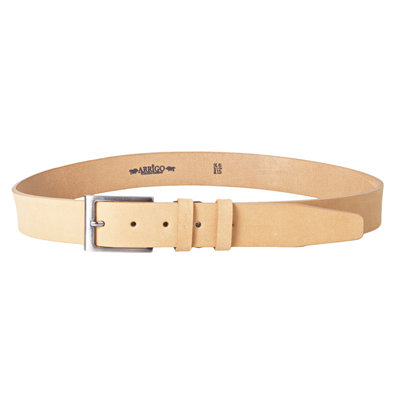 3.5 cm wide leather belt made of light brown buffalo leather
