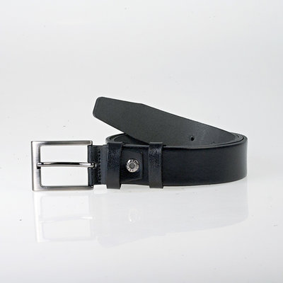 Buffalo leather belt, 3.5 cm wide in the color black