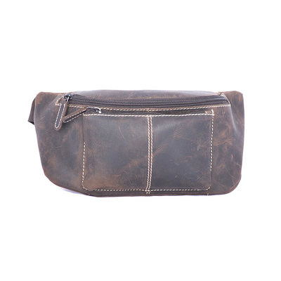 Buffalo hip bag with zippers in the color dark brown