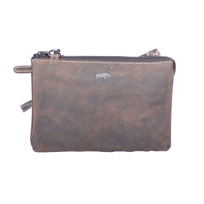 Purse bag of cool buffalo leather in the color dark brown - XL