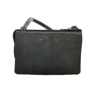 Purse bag of cool buffalo leather in the color black - XL