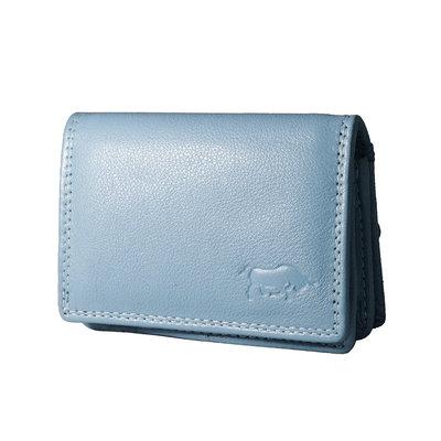 Leren portemonnee, lichtblauw, small