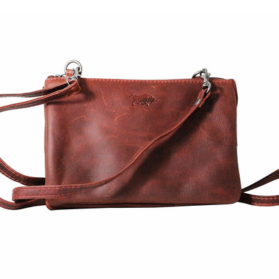 Red leather wallet bag - big