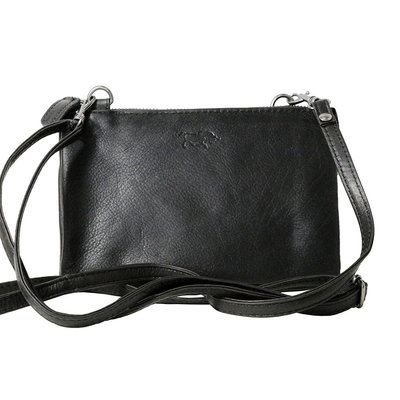 Cowhide leather wallet bag in the color black - XL