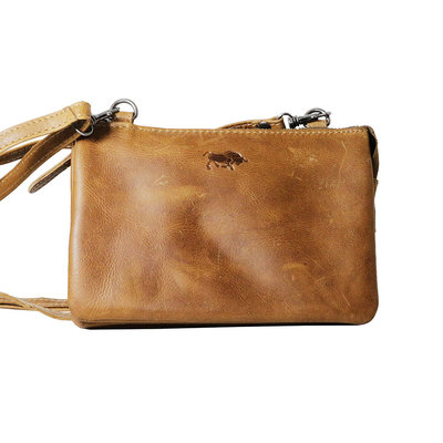 Cowhide leather wallet bag in the color cognac - XL