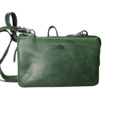 Leather wallet bag, green - large