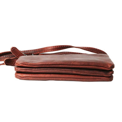 Leather wallet bag, red - large