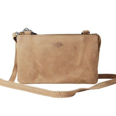 Leather wallet bag, taupe  - large