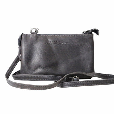 Leather wallet bag, dark blue - large