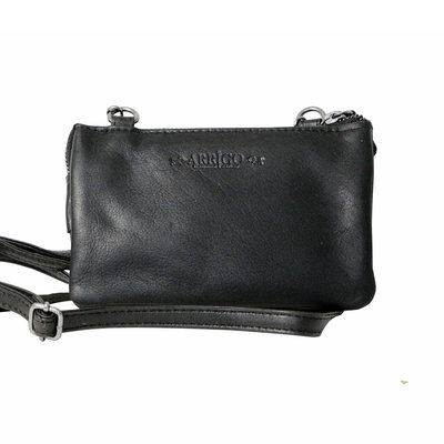 Leather wallet bag, black - large