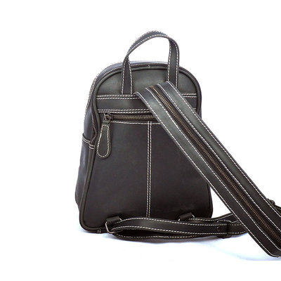 Small black buffalo leather backpack with 5 zippers
