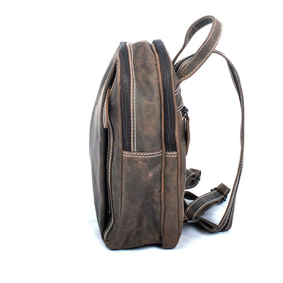 Small dark brown buffalo leather backpack with 5 zippers