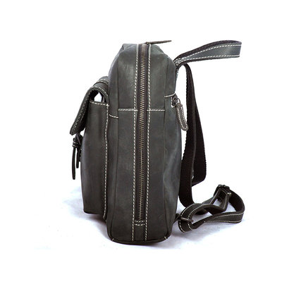 Compact backpack made of trendy black buffalo leather