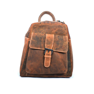 Compact backpack made of trendy cognac buffalo leather