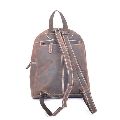 Backpack Made Of Dark Brown Buffalo Leather - Compact Model