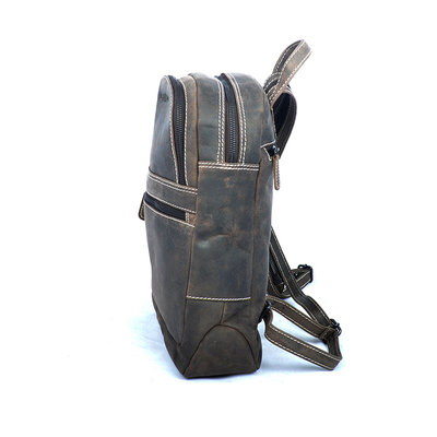 Donkerbruin buffelleren rugzak met verstelbare schouderbanden