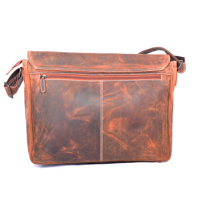 Buffalo XL messenger bag with flap, cognac
