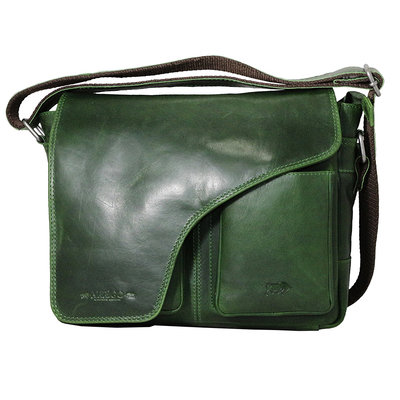 Cowhide leather shoulder bag with flap and shoulder strap, green